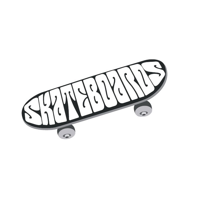 Skateboard Clip Art Black And White Longboard Black And Wh...