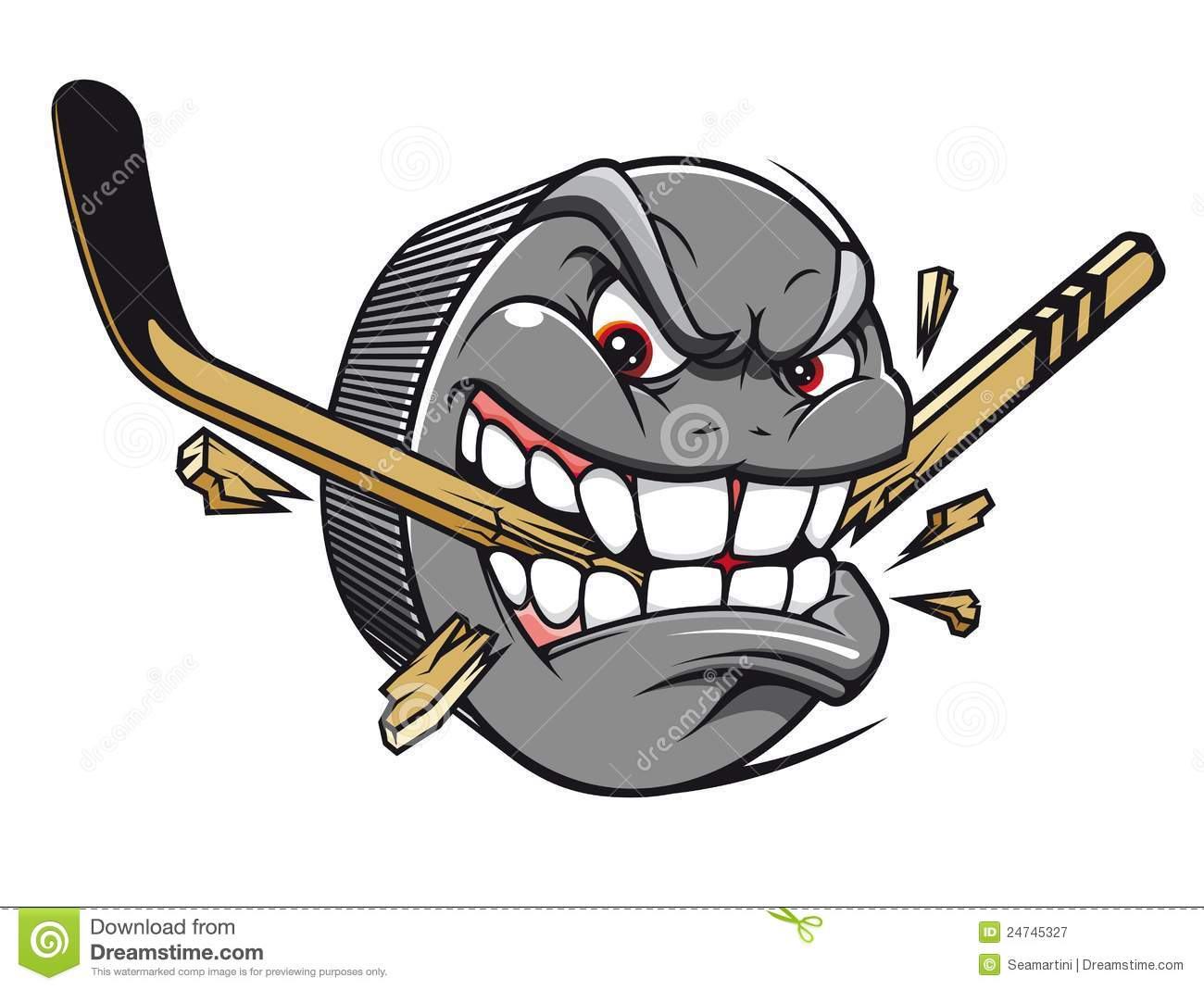 Sport Mascot   Hockey Puck Bites And Breaks Hockey Stick