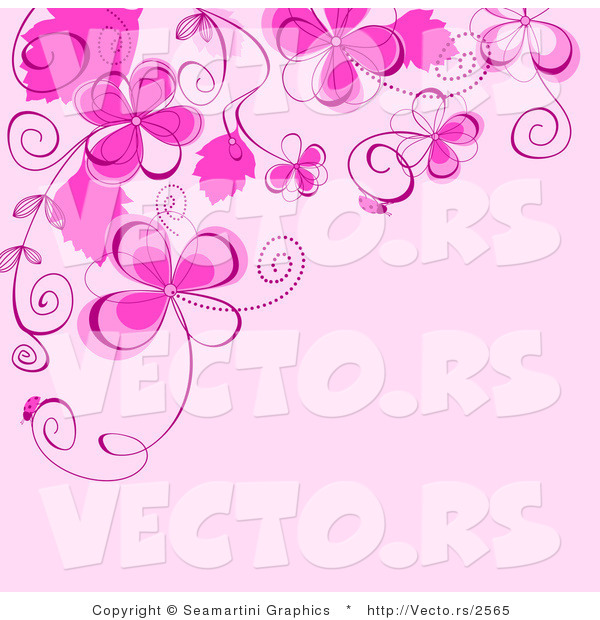 Vector Of Floral Background Design With Bright Pink Flowers And Vines