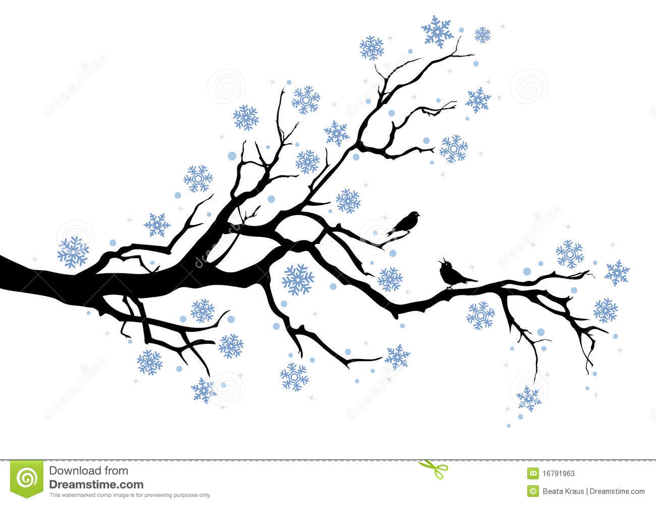 Winter Tree With Snowflakes And Birds Background