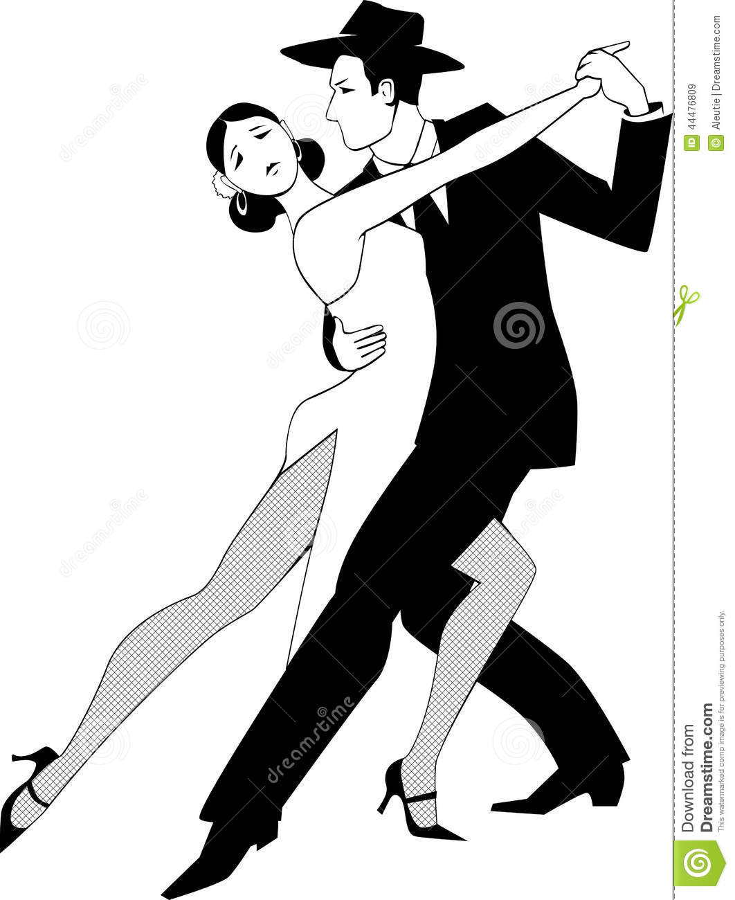 Black Line Vector Drawing Of A Couple Dancing Tango No White Will