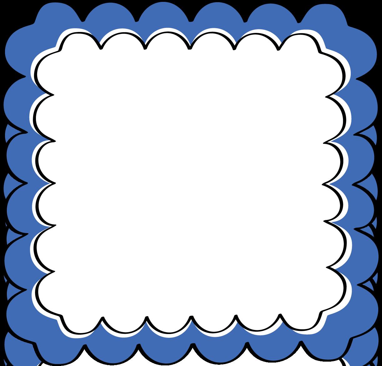 Blue Scalloped Frame Free Clip Art Frames