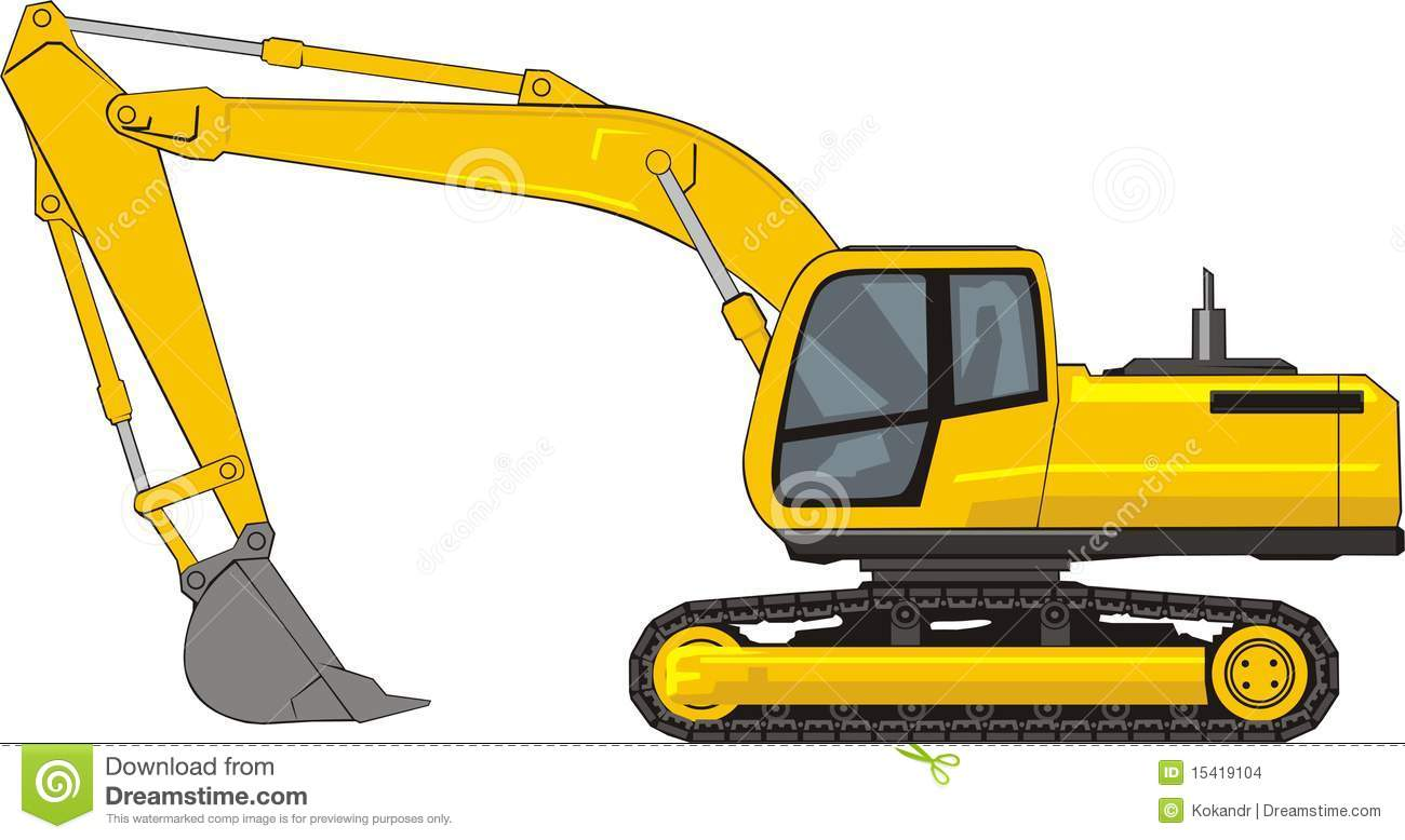 Excavator Black And White Cat Clipart - Clipart Kid