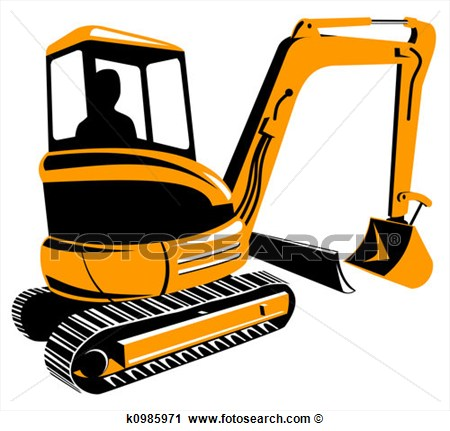 Clipart Of Mechanical Digger K0985971   Search Clip Art Illustration
