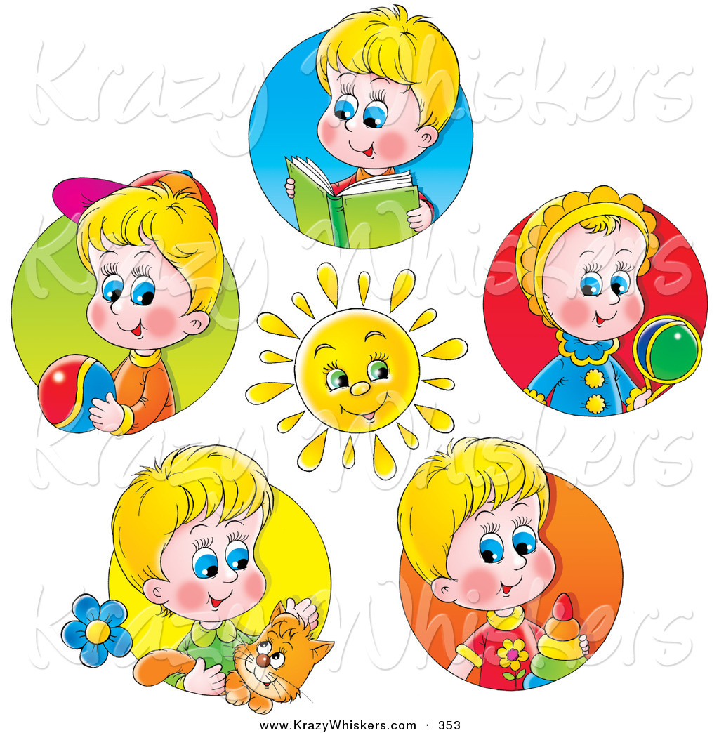 Critter Clipart Of A Bright Sun Surrounded By Scenes Of Little Boys