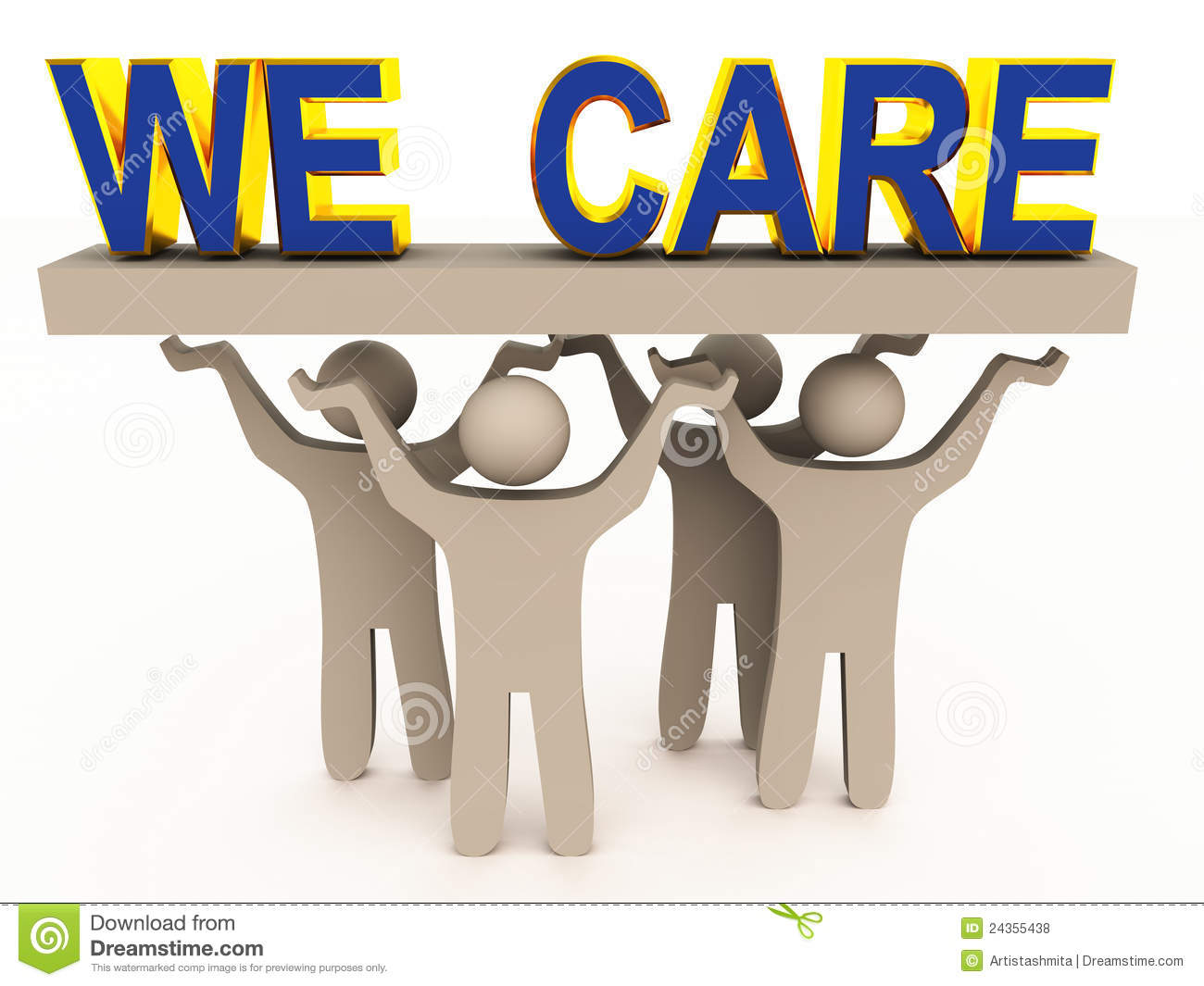 Customer Care Concept Image With Figures Holding We Care Words On A