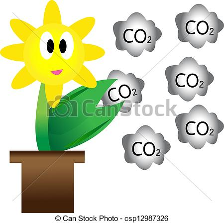 Stock Illustration   Flowers And Carbon Dioxide Concepts To Reduce
