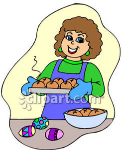 Woman Baking On Easter   Royalty Free Clipart Picture