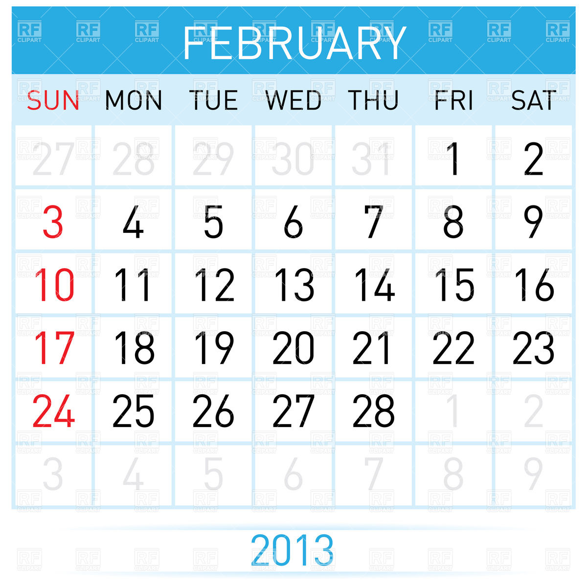 2013 Calendar Month Download Royalty Free Vector Clipart  Eps