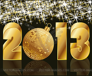 2013 Golden Year With Christmas Ball   Vector Clipart