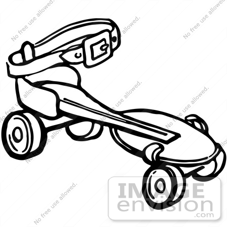 61938 Clipart Of A Retro Roller Skate In Black And White   Royalty