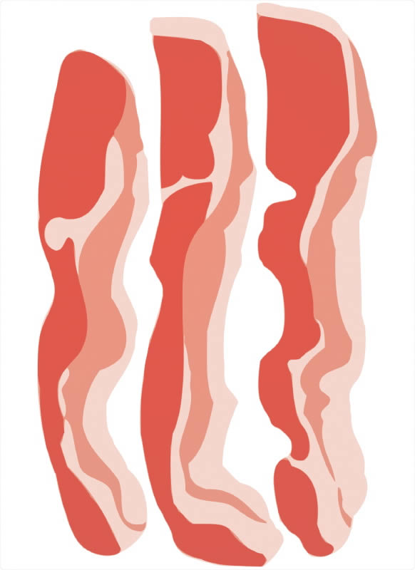 Bacon Illustration Black And White Strip Clipart