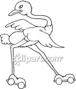 Black And White Ostrich On Roller Skates   Royalty Free Clipart