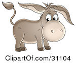 Clipart Illustration Of A Cute Brown Baby Donkey With Long Ears By