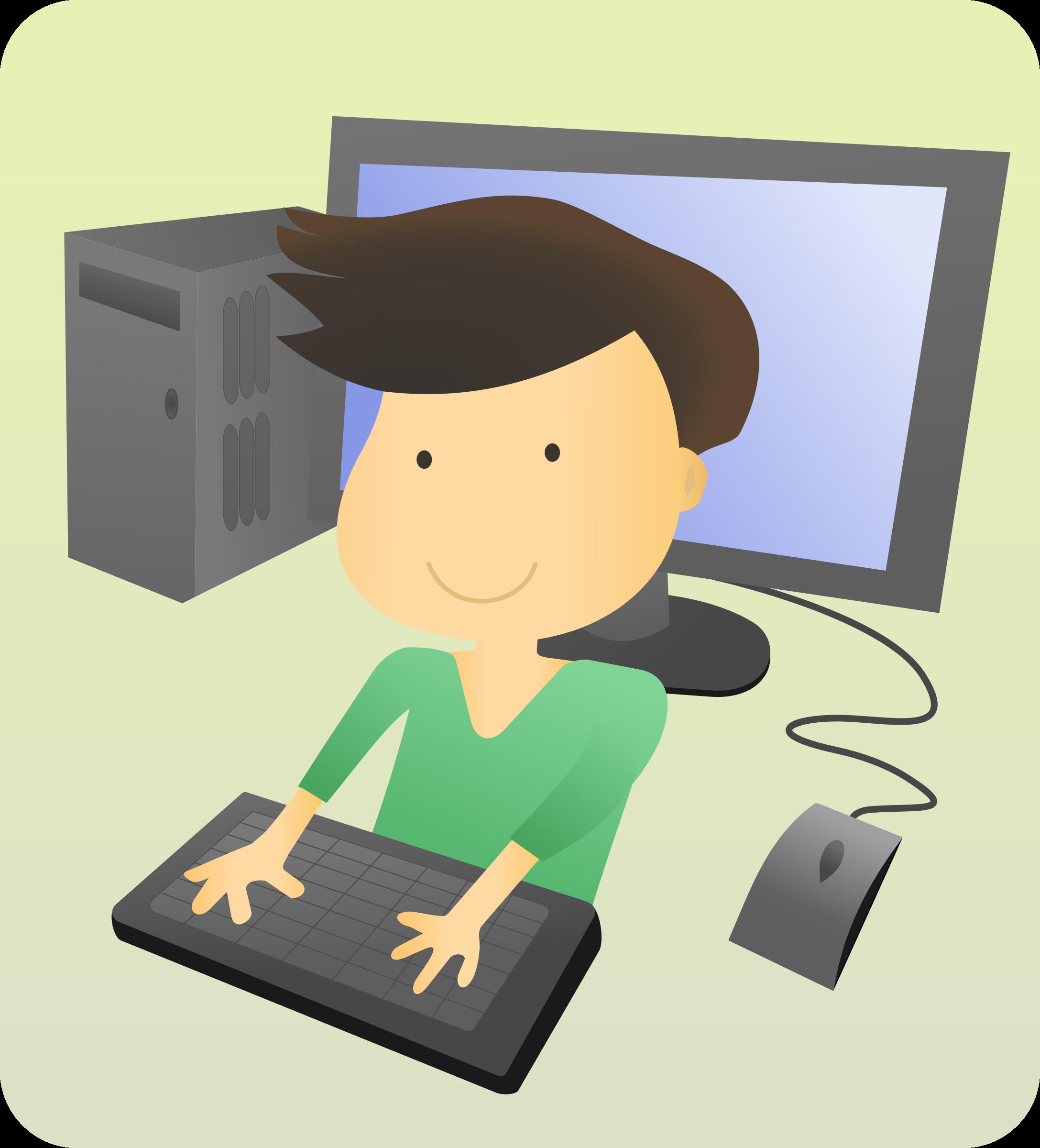 Kid on a computer cartoon