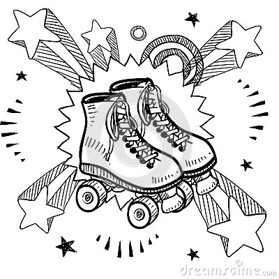 Doodle Style Sketch Of Rollerskates On Pop Explosion Background In