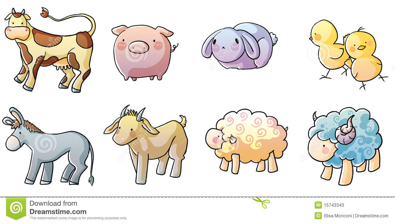 Eight Icons Of Farm Animals Drawn With A Graceful Style And Brilliant