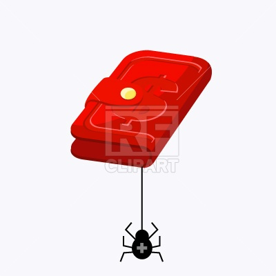 Empty Wallet With Spider Download Free Vector Clipart  Eps