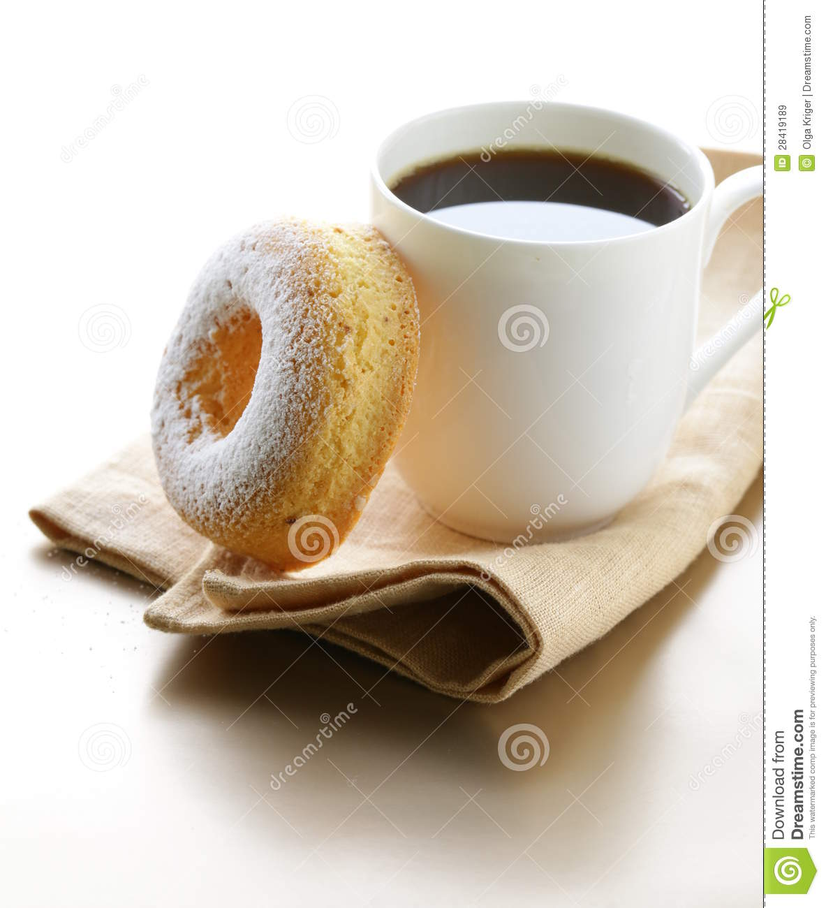 Fresh Donut Sprinkled With Powdered Sugar Royalty Free Stock Images