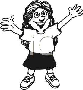Girl With Her Arms Stretched And Reaching Up   Royalty Free Clipart