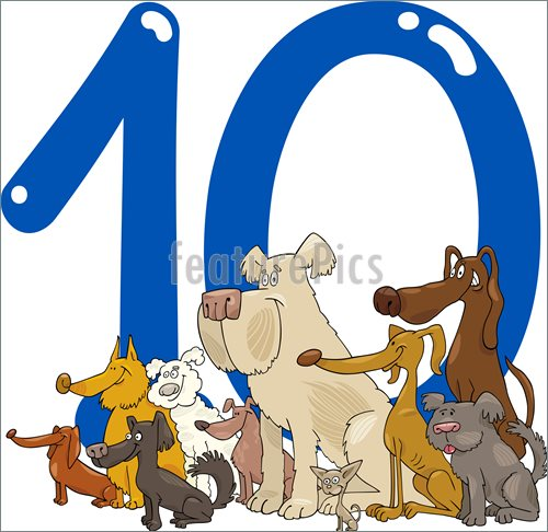 Illustration Of Cartoon Illustration With Number Ten And Group Of Dogs