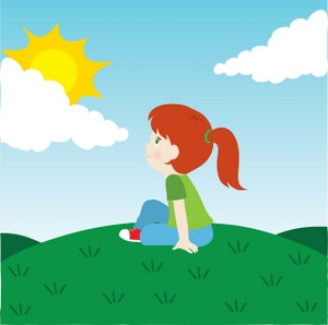 Outdoors Clipart Image   A Little Girl Sitting On A Hill Under The Sun