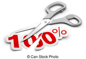 Scissors And 100 Percent Label Cutted In Two Parts Symbol Of Discount