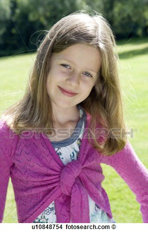 Stock Photo   Portrait Of 9 Year Old Girl  Fotosearch   Search Stock