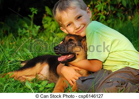 Years Old Boy Hugging His German Shepherd Dog