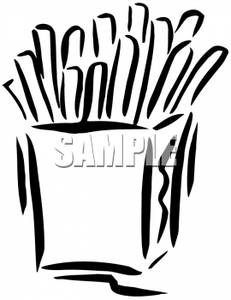 Black And White Box Of French Fries   Royalty Free Clipart Picture