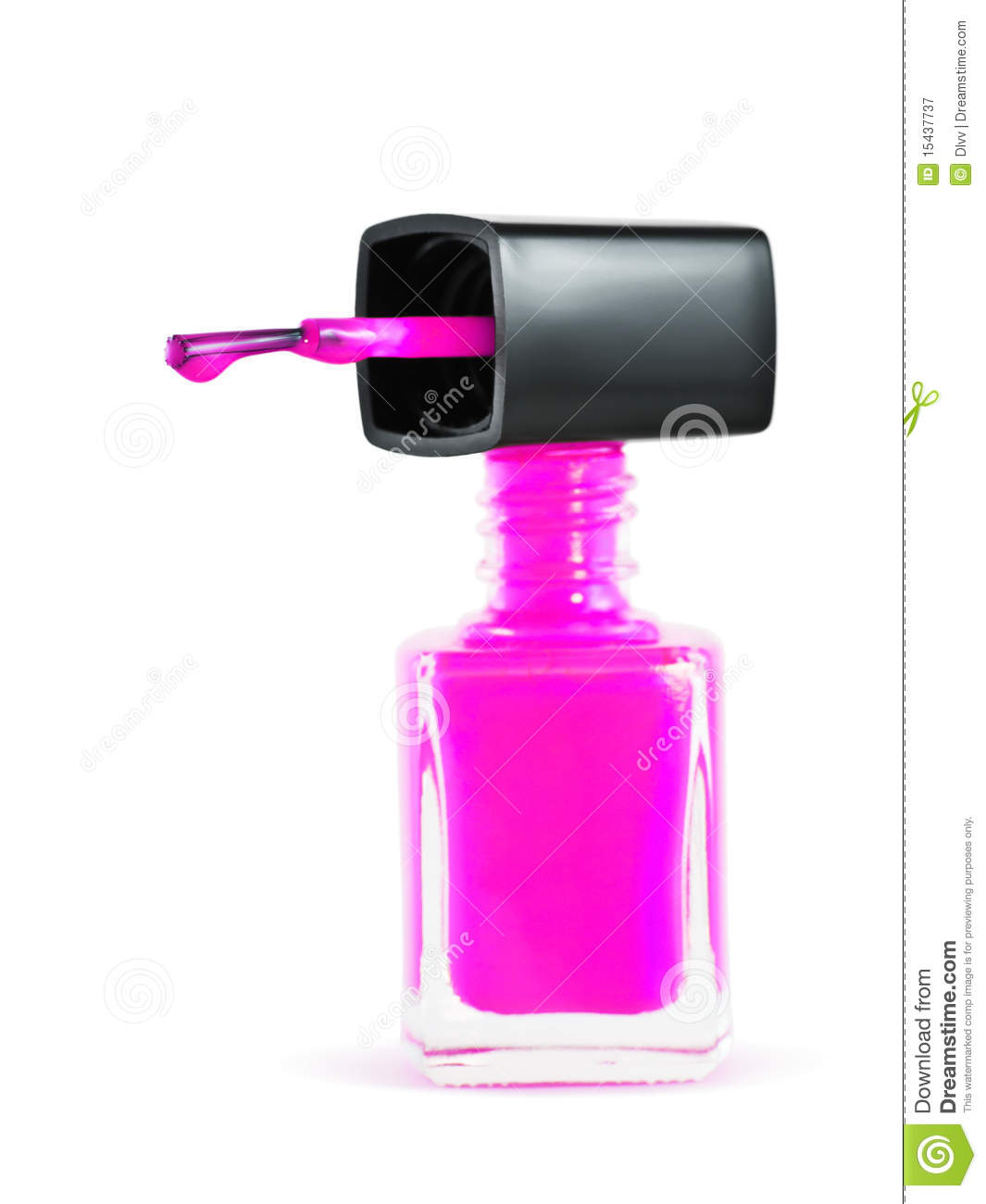 Bottle Of Magenta Nail Polish With A Nail Polish Dripping From Brush