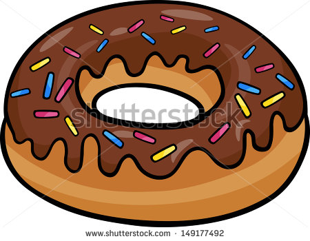 Cartoon Vector Illustration Of Sweet Donut Cake With Chocolate Clip