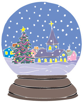 Christmas Tree Snow Globe Clip Art