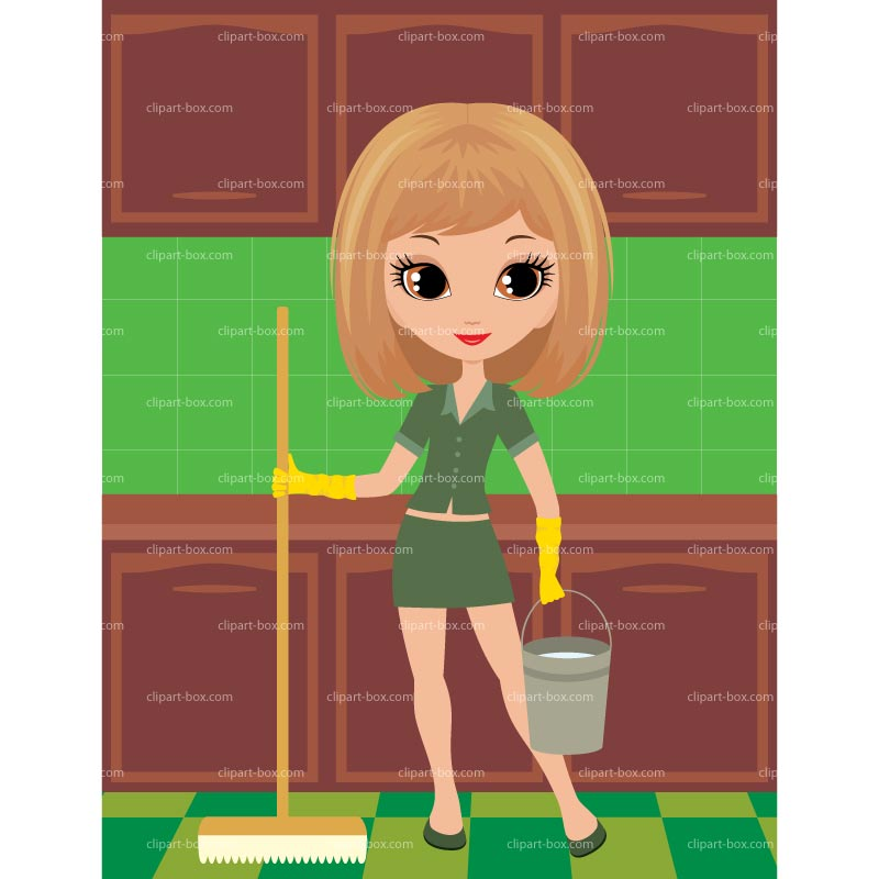 Clipart Girl Cleaning Kitchen   Royalty Free Vector Design