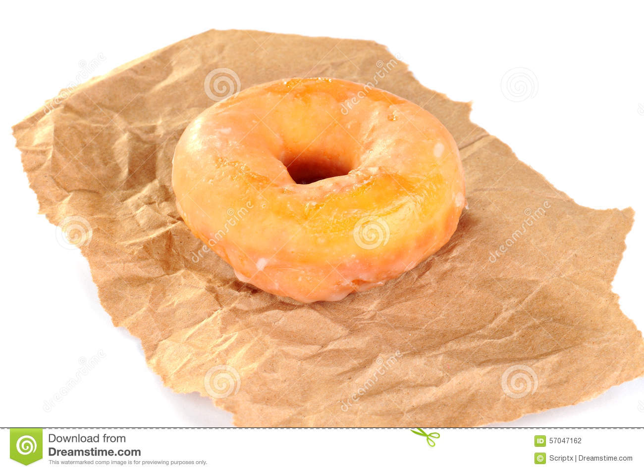 Delicious And Fresh Donut For Breakfast On A Piece Of Brown Paper