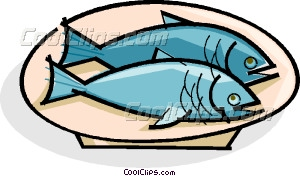 Fish On A Plate Vector Clip Art