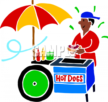 Food Clip Art Picture Of An African American Hot Dog Vendor