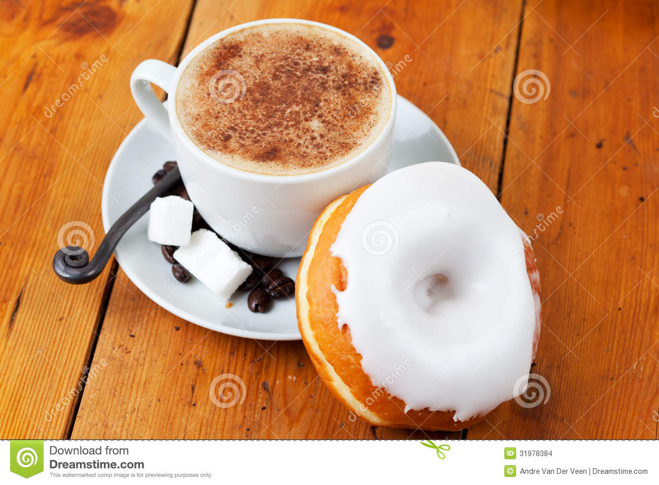 Fresh Cappuccino And Doughnut With White Frosting Stock Images   Image