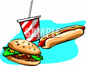 Hot Dog Hamburger And Soft Drink   Royalty Free Clipart Picture