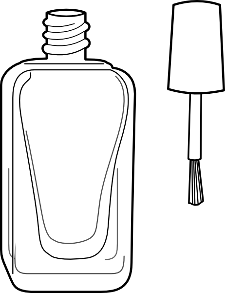 Nail Polish Bottle Black And White Clip Art At Clker Com   Vector Clip