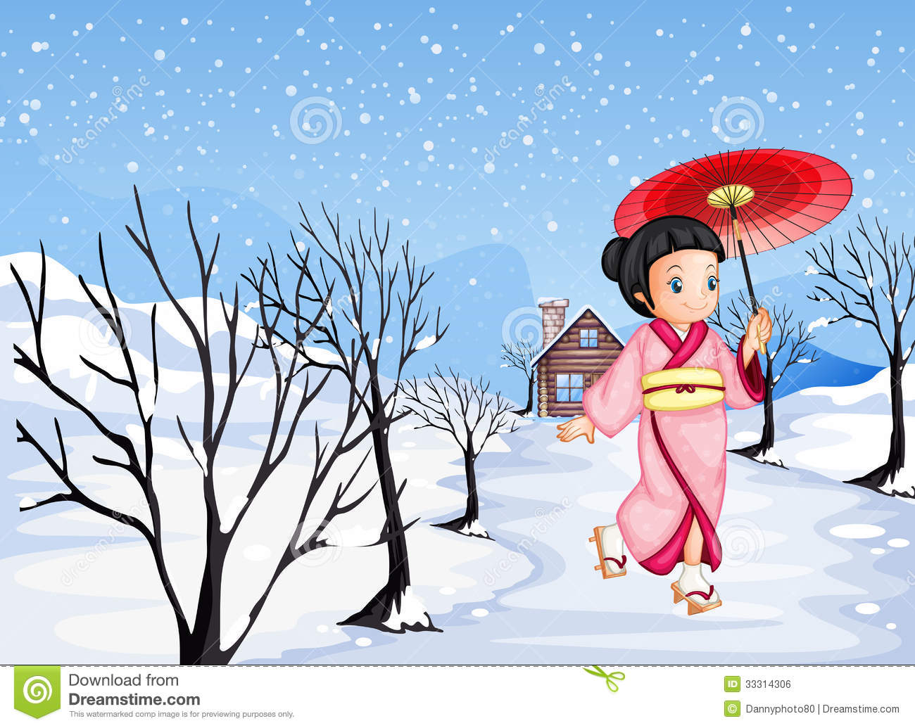 Chinese Girl Holding An Umbrella Walking Outside With Snow Royalty