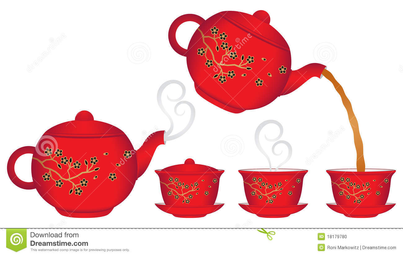 Chinese Teapot Pouring Tea Into A Cup  There Is Also A Teapot With