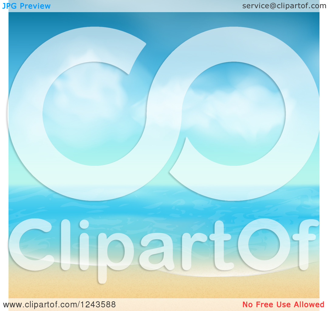 Clipart Of A Tropical Beach With White Sand And Blue Skies Royalty ...