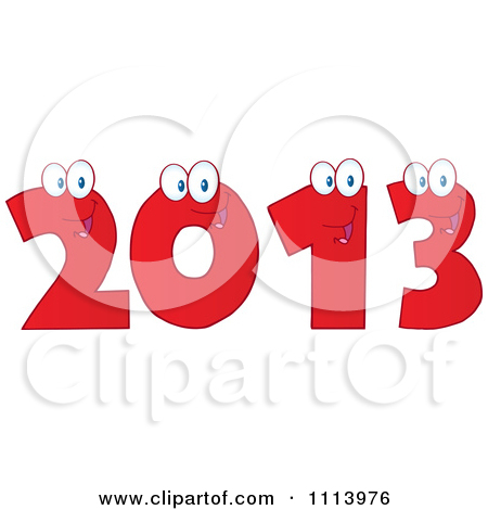 Clipart Red Happy 2013 Numbers   Royalty Free Vector Illustration By