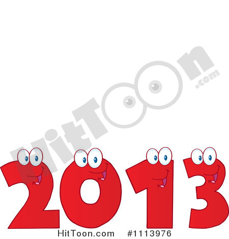 Clipart Red Happy 2013 Numbers   Royalty Free Vector Illustration