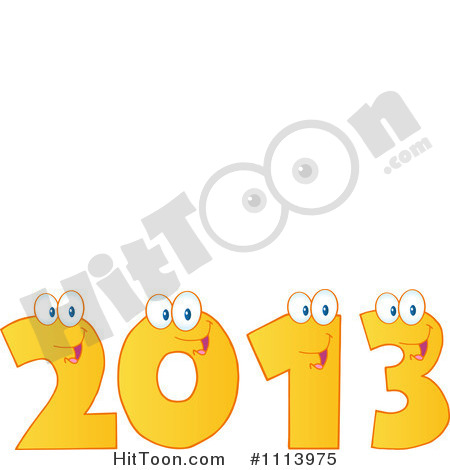 Clipart Yellow Happy 2013 Numbers   Royalty Free Vector Illustration