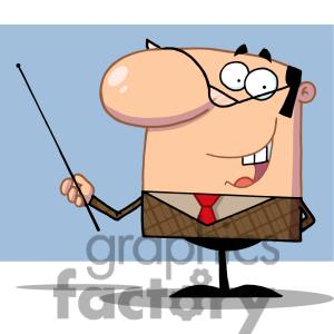 Manager Gesturing With A Pointer In Front Of A Blue Background Clipart