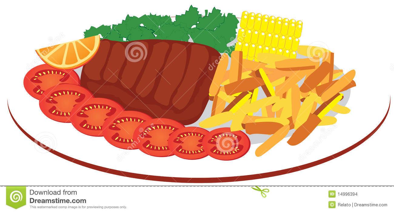 Clip Art Plate Of Food Clipart plate of food clipart kid with different steak fries vegetables