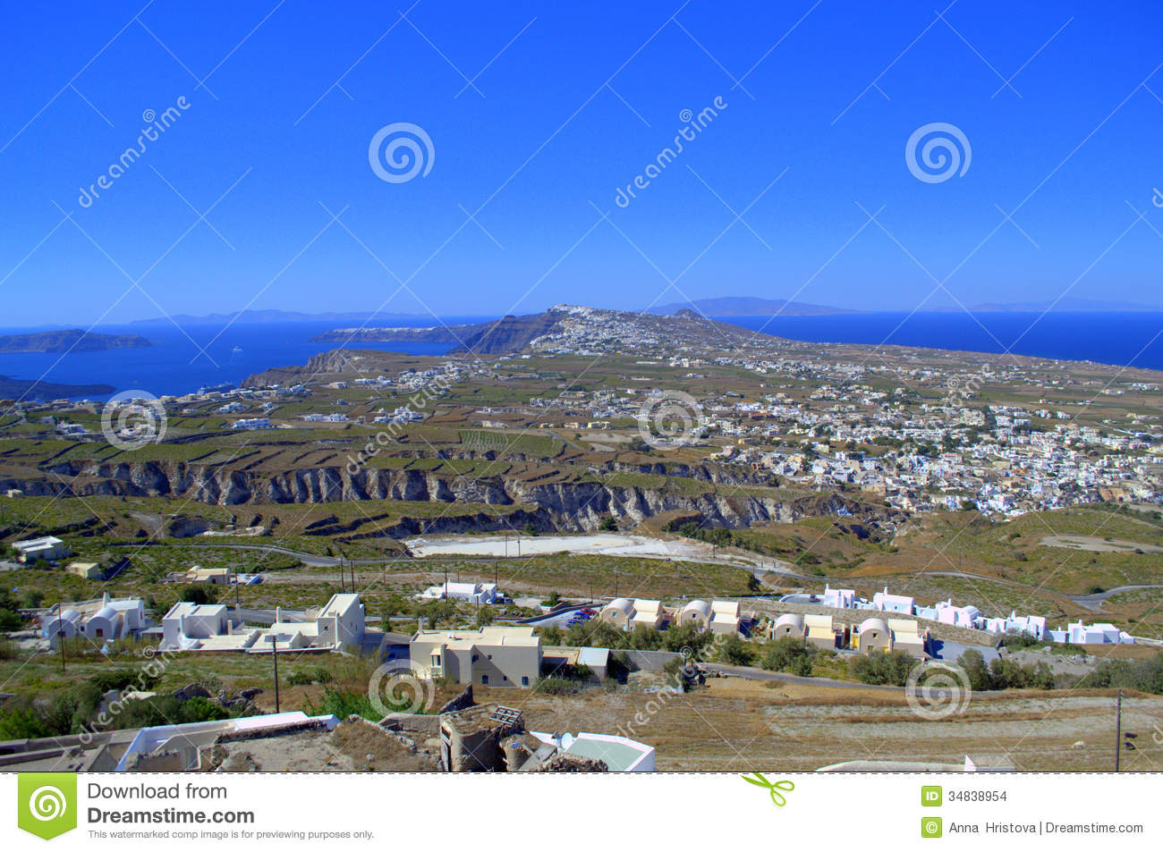 Scenic View Of Santorini Island Stock Images   Image  34838954
