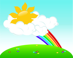 Sunshine Clipart Image   Partly Cloudy But Mostly Sunny With Rainbows